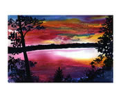 Cherry Lake Sunset Print from Original Watercolor Painting