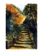 Stone Steps Print from Original Watercolor Painting